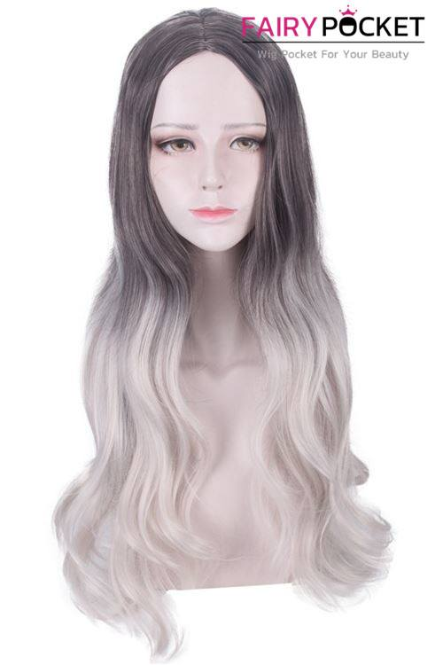 Lolita Long Wavy Black to Cool White Ombre Basic Cap Wig