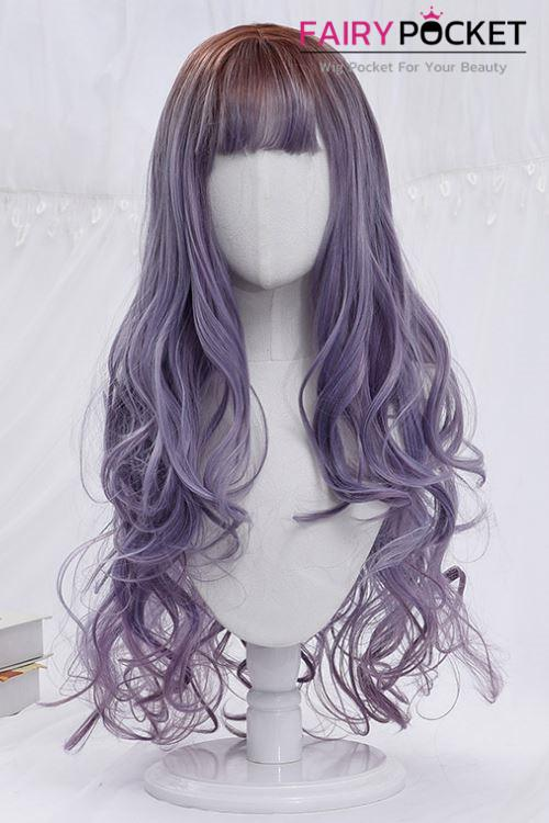 Lolita Long Wavy Brown to Grape Juice Ombre Basic Cap Wig