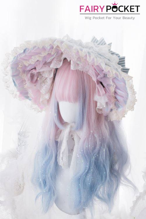 Lolita Long Wavy Electric Pink to Baby Blue Basic Cap Wig