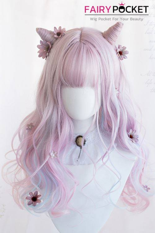 Lolita Long Wavy Electric Pink to Baby Blue Ombre Basic Cap Wig