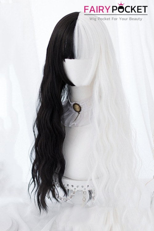 Lolita Long Wavy Half Black and Half White Basic Cap Wig