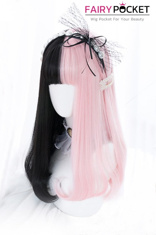 Lolita Long Straight Half Pink and Half Black Basic Cap Wig