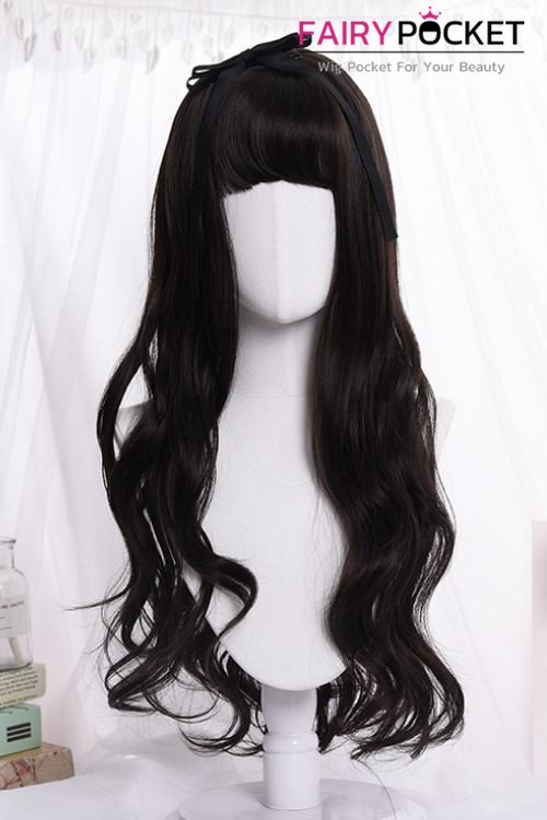 Lolita Long Wavy Lamp Black Basic Cap Wig