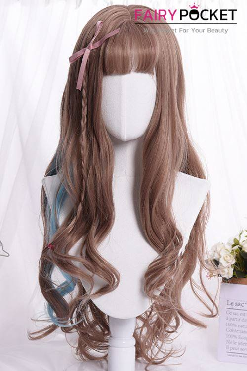 Lolita Long Wavy Light Cinnamon and Baby Blue Basic Cap Wig