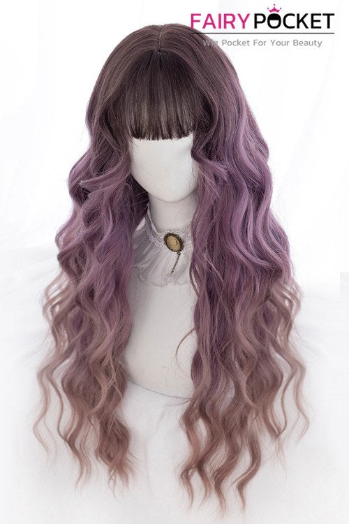 Lolita Long Wavy Russet to Purple Basic Cap Wig