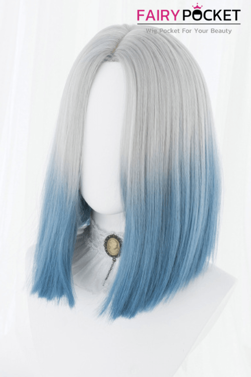 Lolita Medium Straight Grey to Blue Basic Cap Wig