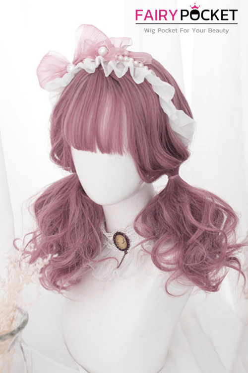 Lolita Medium Wavy Pink Basic Cap Wig - B