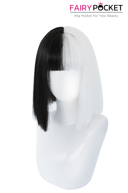 Lolita Short Straight Half Black and Half White Basic Cap Wig