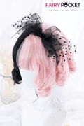 Lolita Short Wavy Half Pink and Half Black Basic Cap Wig