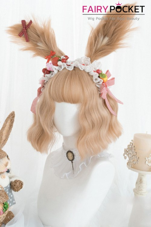 Lolita Short Wavy Fawn Basic Cap Wig (Include Ears)