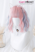 Lolita Short Wavy Pink and Baby Blue Basic Cap Wig