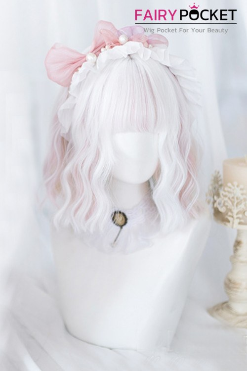 Lolita Short Wavy White and Electric Pink Basic Cap Wig