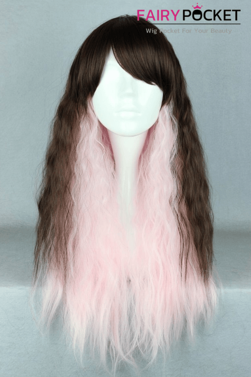 Lolita Black and Pink Long Wavy Basic Cap Wig