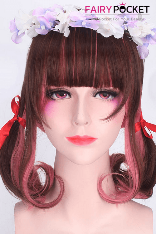 Lolita Brown and Pink Medium Wavy Basic Cap Wig