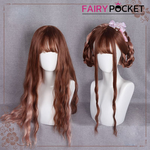 Lolita Dark Chocolate and Pink Wavy Basic Cap Wig