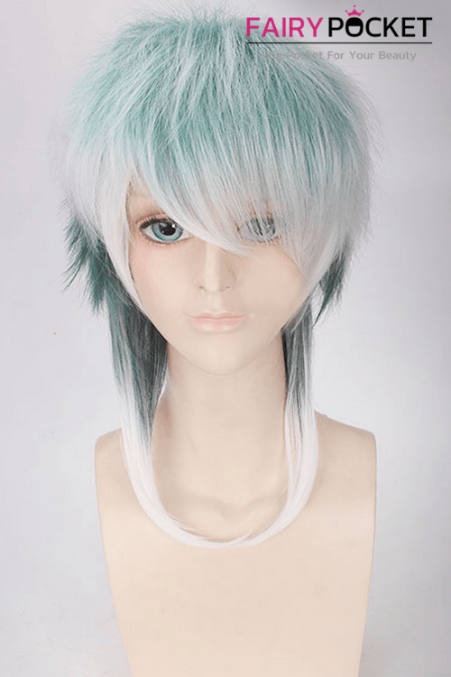 Lolita Green to White Ombre Medium Straight Basic Cap Wig
