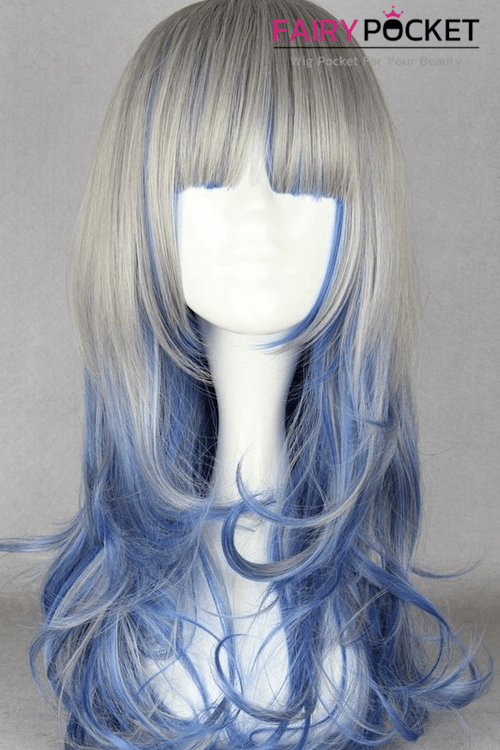 Lolita Grey and Blue Long Wavy Basic Cap Wig