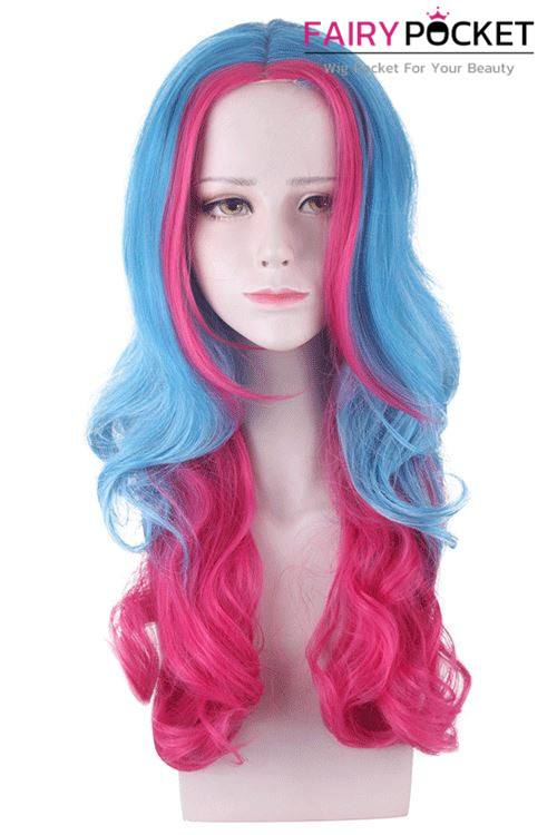Lolita Long Wavy Calypso Blue and Royal Fuchsia Basic Cap Wig