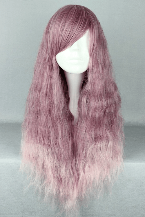 Lolita Purple and Pink Long Wavy Basic Cap Wig