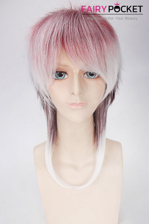 Lolita Red to White Ombre Medium Straight Basic Cap Wig