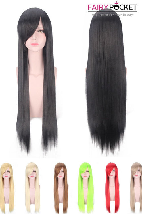 Long Nature Straight Black Side Swept Bangs Basic Cap Wig