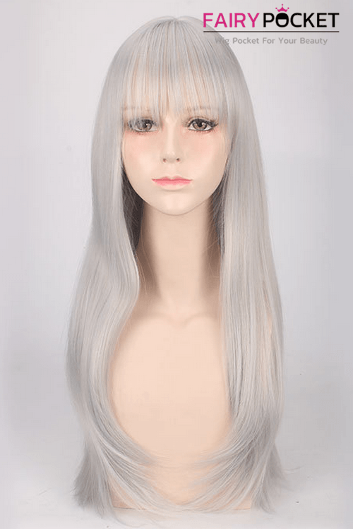 Long Straight Ash Grey Basic Cap Wig