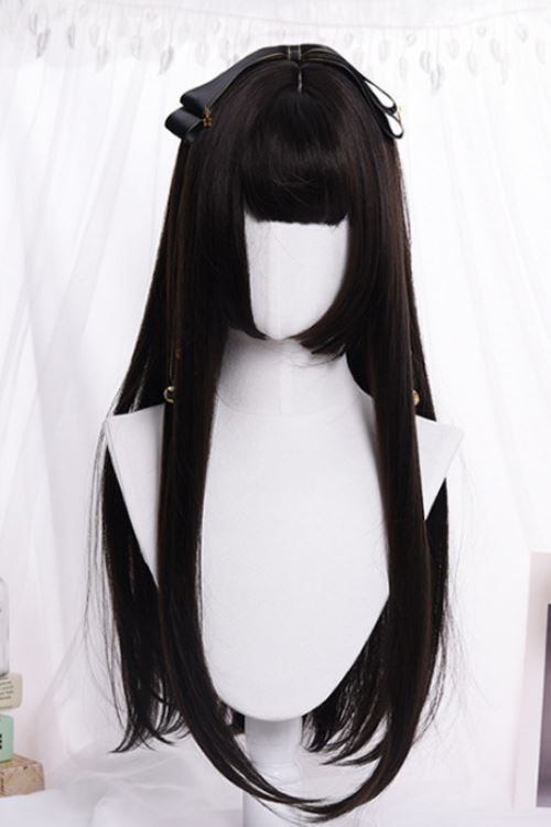 Long Straight Black Basic Cap Wig