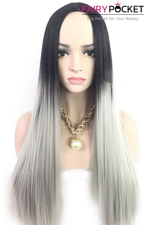 Long Straight Black Root to Grey Basic Cap Wig