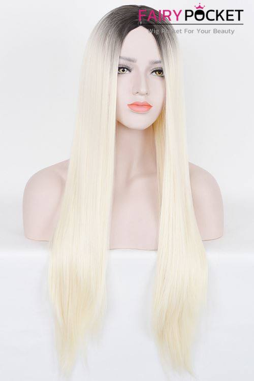 Long Straight Black to Light Buttermilk Ombre Basic Cap Wig