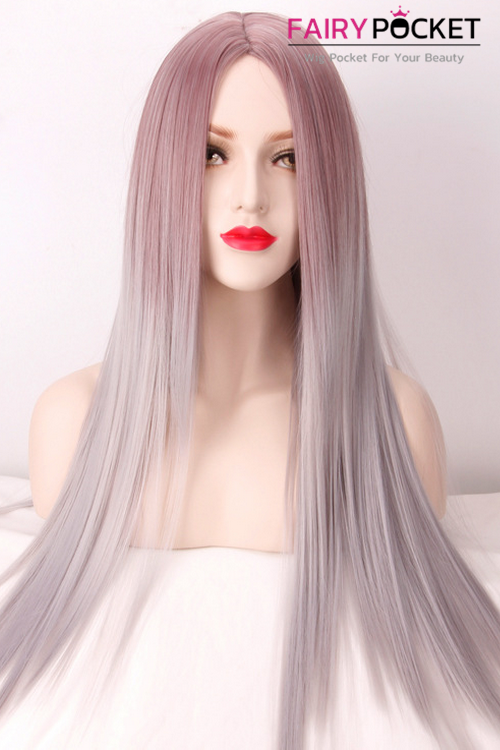 Long Straight Pastel Brown to Ash Grey Ombre Basic Cap Wig