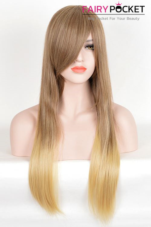 Long Straight Sable Brown To Yellow Ochre Basic Cap Wig