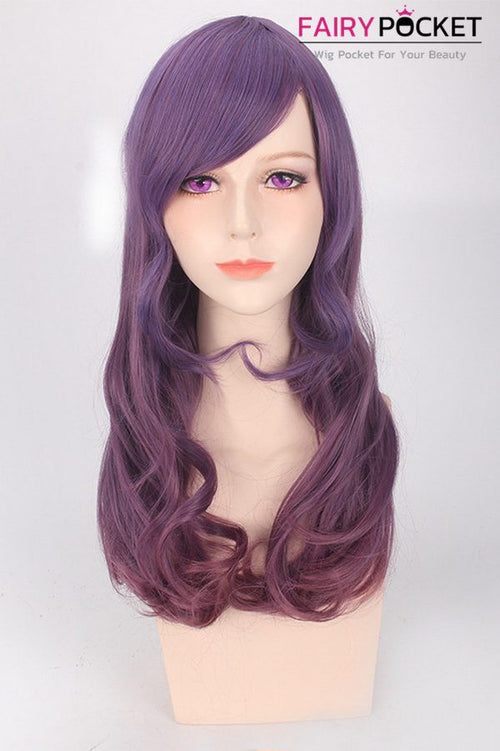 Long Wavy Ash Brown and Purple Mixed Basic Cap Wig