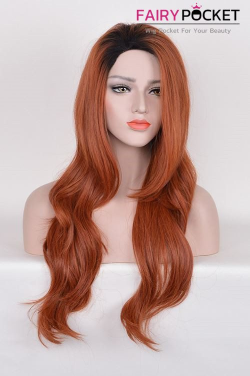 Long Wavy Black to Burnt Orange Ombre Basic Cap Wig