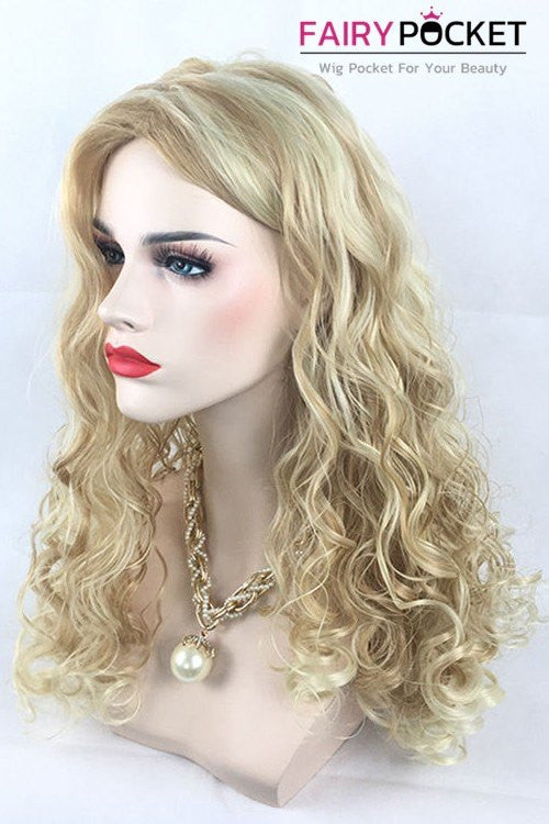 Long Wavy Blonde High Light White Basic Cap Wig
