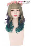 Long Wavy Blonde Mixed Purple to Green Ombre Basic Cap Wig
