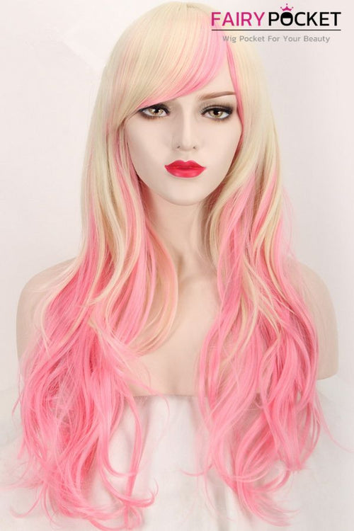 Long Wavy Blonde and Pink Ombre Basic Cap Wig
