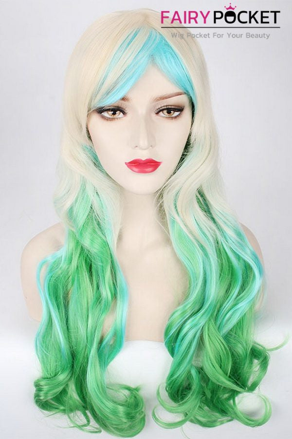 Long Wavy Blonde to Green and Blue Ombre Basic Cap Wig