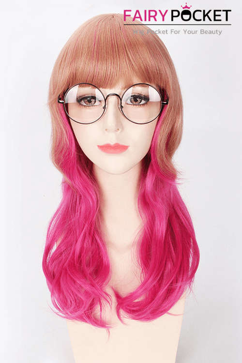 Long Wavy Brown to Pink Ombre Basic Cap Wig