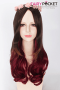 Long Wavy Brown to Red Ombre Basic Cap Wig