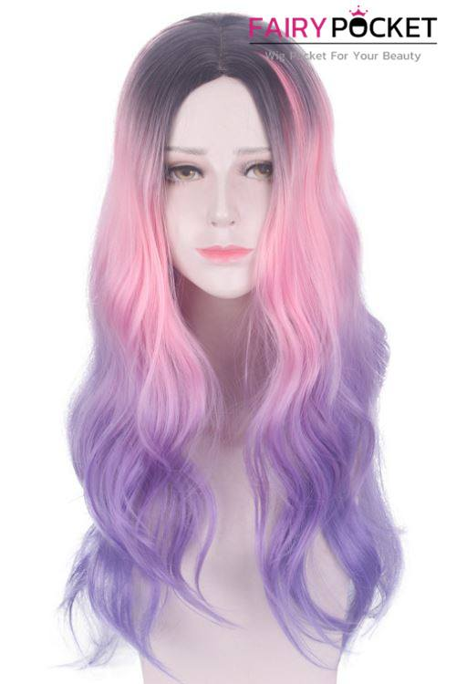 Long Wavy Black, Electric Pink and Lavender Basic Cap Wig