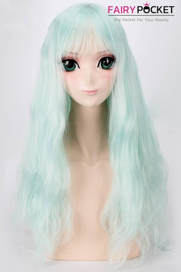 Long Wavy Mint Green Basic Cap Wig