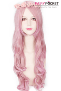 Long Wavy Pink and Blonde Mixed Basic Cap Wig