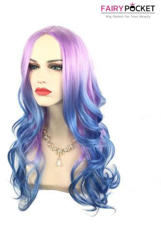 Long Wavy Purple to Blue Basic Cap Wig
