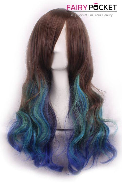 Long Wavy Rainbow Basic Cap Wig