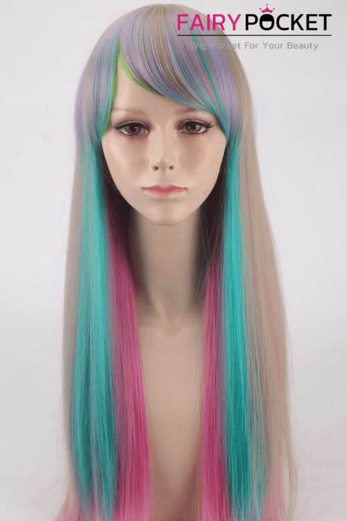 Long Straight Rainbow Basic Cap Wig