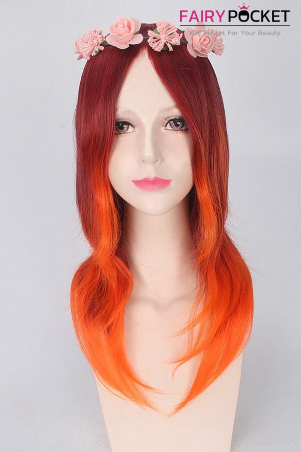 Long Wavy Reddish Brown to Orange Ombre Basic Cap Wig