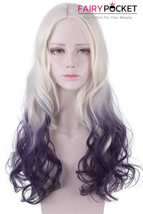 Long Wavy Sand to Dioxazine Purple Ombre Basic Cap Wig