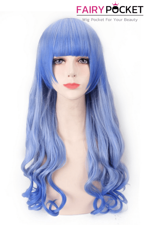 Long Wavy Sky Blue and Ice Blue Mixed Basic Cap Wig