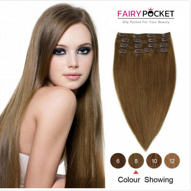 Medium Ash Brown Straight Clip In Remy Human Hair Extentions