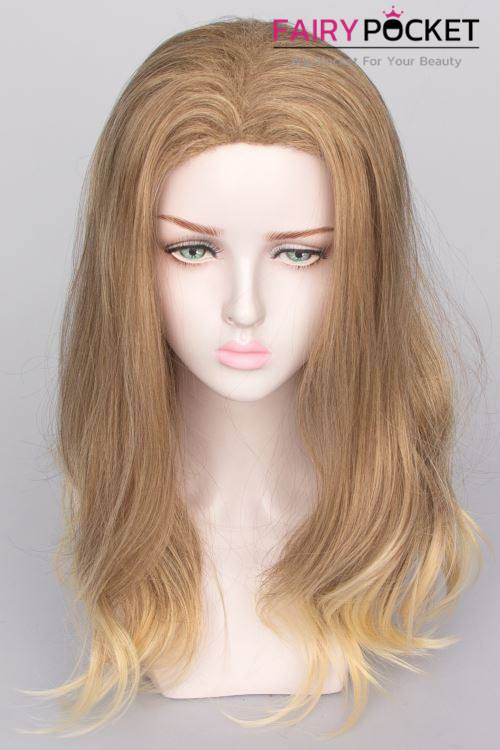 Medium Wavy Honey Brown to Sand Ombre Basic Cap Wig
